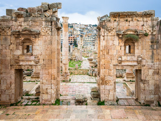Jerash city through Gateway of Artemis temple