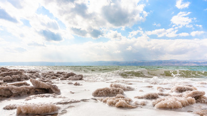 crystalline beach of Dead Sea in winter