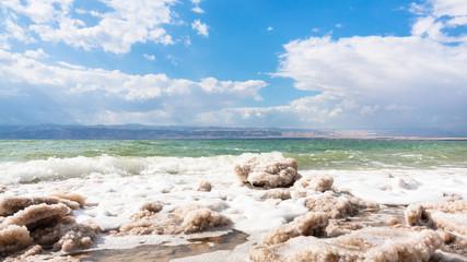 crystalline salt on surface of Dead Sea waterfront