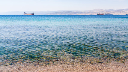 clean water near urban beach of Aqaba city