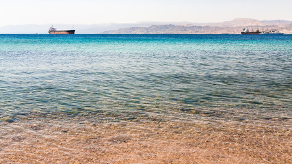 clear water near urban beach of Aqaba town