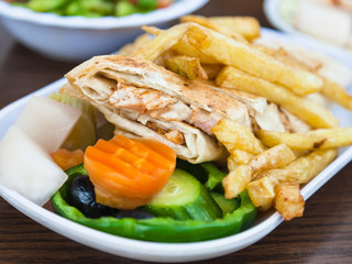 typical arabian fast food Shawerma with chicken