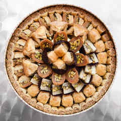 many arabian sweet pastry baklava on plate