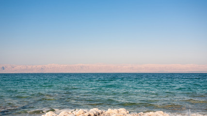water surface of Dead Sea in sunny winter day