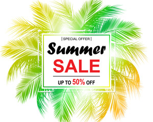 Summer sale background with palm. Vector background for banner, poster, flyer, card, postcard, cover, brochure.