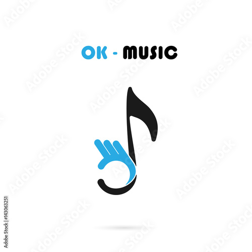 Human Hand Icon With Musical Note Vector Logo Design Template.The