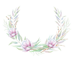 Watercolor floral wreath isolated on white background