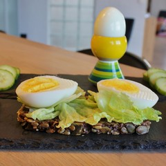 Meal with egg on rye bread, boiled egg and sliced cucumber
