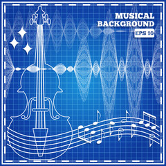 Musical abstract background. Vector illustration.