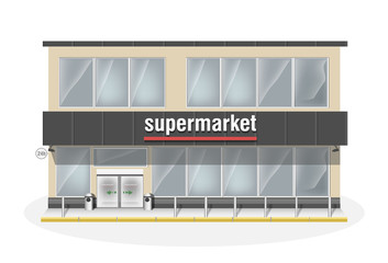 Supermarket consisting of two floors. Premium big shop showcase and entrance automatic door. Store with white vector panorama windows.