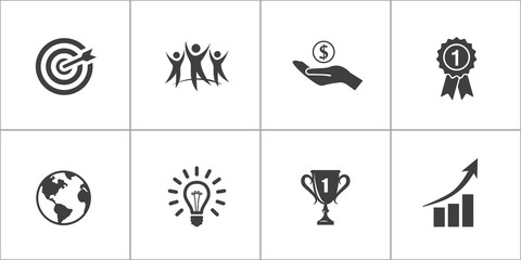 Vector icon set. Success in business or other