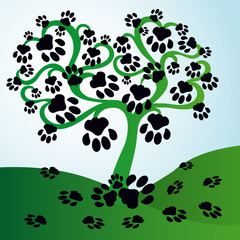 Tree with leaves in form of cat traces