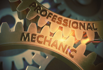 Professional Mechanic on Mechanism of Golden Metallic Gears. Professional Mechanic - Illustration with Glowing Light Effect. 3D Rendering.
