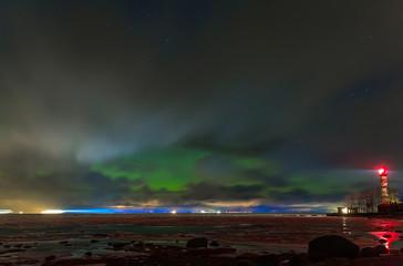 Northern lights in the Finnish Gulf, Leningrad region, Russia