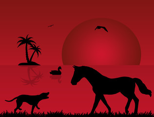 vector silhouette of a dog and a horse in nature