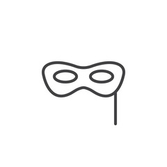 Carnival mask line icon, outline vector sign, linear style pictogram isolated on white. Masquerade symbol, logo illustration. Editable stroke. Pixel perfect