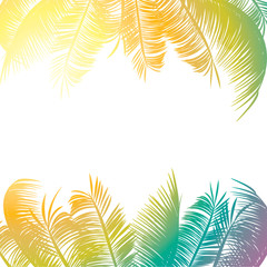 Abstract pattern of multi-colored palm leaves