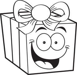 Black and white illustration of a smiling gift box