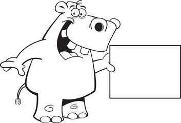 Black and white illustration of a hippopotamus holding a sign.