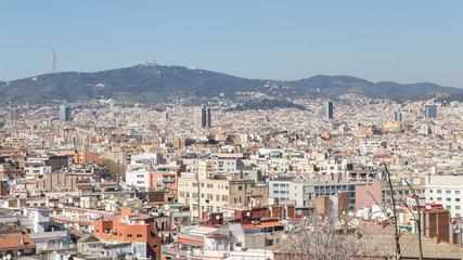 View of Barcelona city from Montjuic mountain