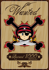 Cartoon Pirate Buccaneer Wanted Poster