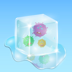Frozen in a cube of ice, evil and sad microbes. Water and drops everywhere. Illustration in cartoon 3d style