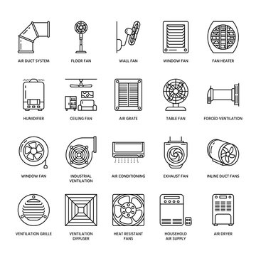 Ventilation equipment line icons. Air conditioning, cooling appliances, exhaust fan. Household and industrial ventilator thin linear signs for store.