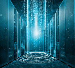 Modern digital graph holograms flying over mainframes of server room in data center