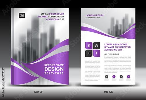Annual Report Brochure Flyer Template Purple Cover Design Business