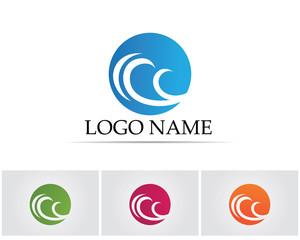 Wave beach water blue logo