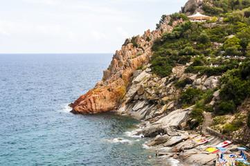 Scenery view Italian island Sardinia sea shore rock beach near Arbatax