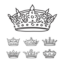 Set of black crowns. Vector icons