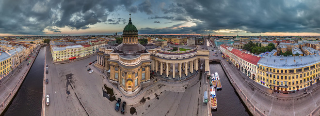 Kazan Cathedral in St. Petersburg. Panorama from the air.