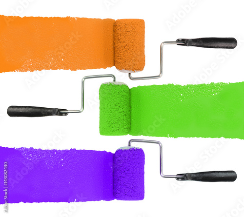 "Orange Green Purple Room: ""Paint Roller With Orange Green And Purple"" Imagens E"