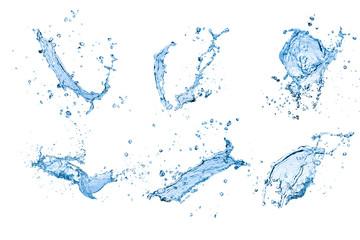 blue water splash set isolated on white background