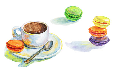 Watercolor set of cup of coffee, macaroons and spoon. Hand drawn isolated breakfast in a french style on white background