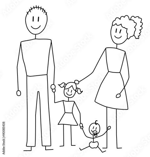 familie vater mutter kind und baby strichzeichnung. Black Bedroom Furniture Sets. Home Design Ideas