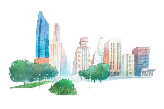 Aquarelle modern city landscape park and buildings watercolor illustration.