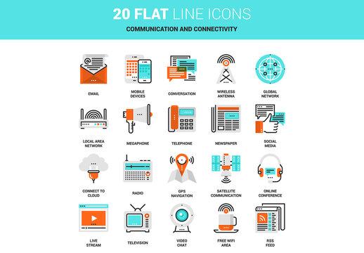 20 Line Art Communications Icons