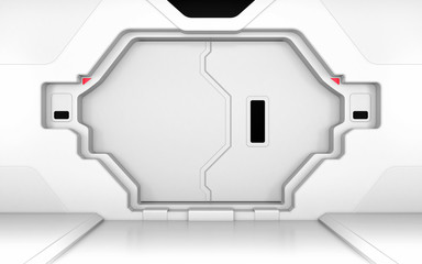 Futuristic metallic white door, gate or entrance in spaceship interior or secret laboratory