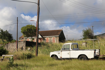 Old church and truck at Saint Kitts and Nevis countryside