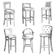 A set of bar chairs isolated on white background.Vector illustration in a sketch style.