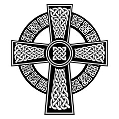 Celtic style Cross with  endless knots patterns in white and black with stroke elements and surrounding black ring  inspired by Irish St Patrick's Day, and Irish and Scottish carving art