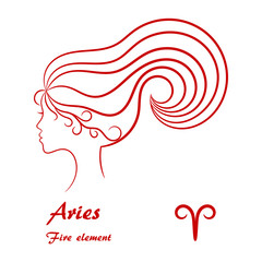 Aries zodiac sign. Stylized female contour profile.