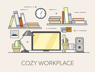 Modern workplace in office. Cozy home office interior