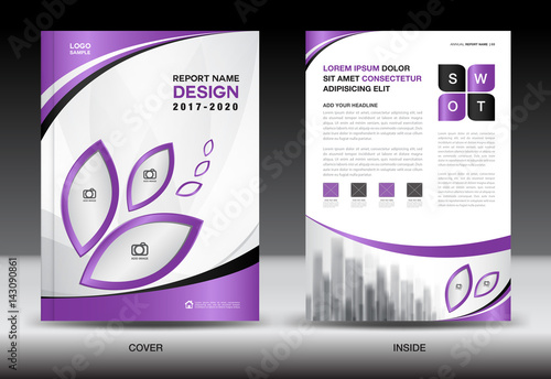 Brochure Template Layout Purple Cover Design Annual Report
