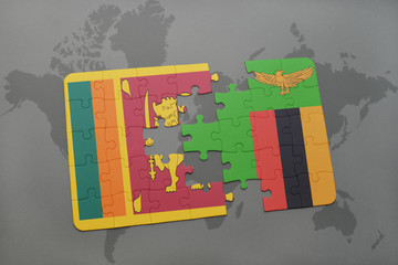puzzle with the national flag of sri lanka and zambia on a world map