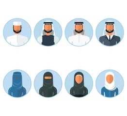 set of arabian people icon