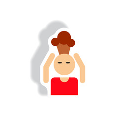 stylish icon in paper sticker style man headache