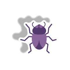 stylish icon in paper sticker style beetle insect